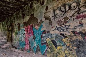 Graffiti op de muren van Fort Chartreuse